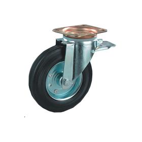 Transportrad mit Metallfelge und Gummibereifung, drehbar mit Bremse