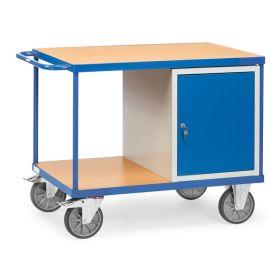 Schwerer Werkstattwagen mit 2 Ablageflächen und 1 Schrank, Tragkraft 600 kg in zwei Grössen
