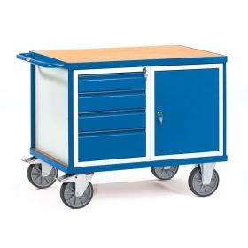 Schwerer Werkstattwagen mit 1 abschliessbaren Schrank und 4 Schubladen