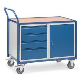 Servante d'atelier avec 1 armoire verrouillable et 4 tiroirs