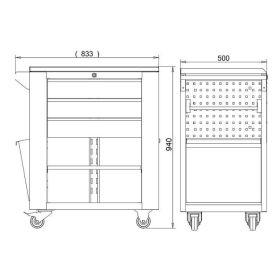 Werkstattwagen mit 3 Schubladen und seitlicher Tür, Abmessungen