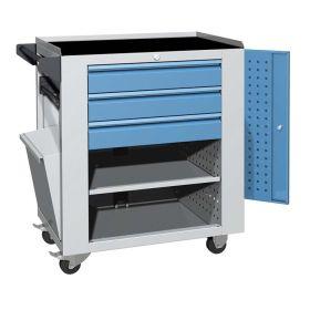 Werkstattwagen mit 3 Schubladen und seitlicher Tür | ausgestattet mit gummierte Arbeitsfläche, Papierrollenhalter, Papierkorb, perforierten Wänden für Werkzeughalterung