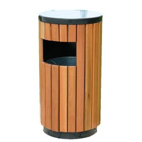 Abfallbehälter Barcelona rund in Holzoptik