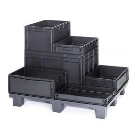Euro-Stapelbehälter aus elektrisch leitfähigem Kunststoff für sichere Lagerung und Transport elektronischer Ware