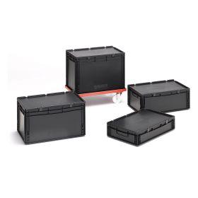 Euro-Stapelbehälter mit Deckel aus elektrisch leitfähigem Kunststoff für sichere Lagerung und Transport