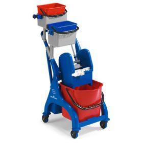 Chariot de nettoyage professionnel compact avec 3 seaux et presse pour la serpillière