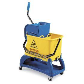 Chariot de nettoyage compact avec châssis et presse à serpillière, capacité seau 2 x 15 litres