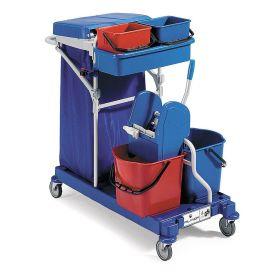 Putz- und Reinigungswagen mit 4 Eimer und Halter für einen Müllbeutel