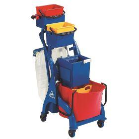Chariot de nettoyage et de service professionnel avec 1 x 28 l et 2 x 4 l seaux et support pour sac poubelle