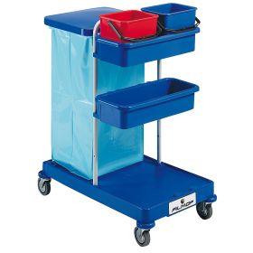 Chariot de nettoyage avec 2 seaux de 6 l et support pour un sac poubelle