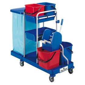 Chariot de nettoyage et de service à usage professionnel avec support pour un sac poubelle et 4 seaux