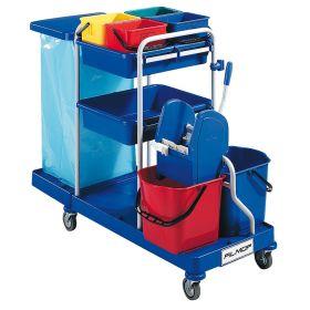 Chariot de nettoyage et de service à usage professionnel avec support pour un sac poubelle et 6 seaux