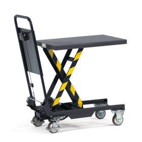 Hubtischwagen 150 kg mit anklappbaren Schiebebügel, Höhe Tisch max. 755 mm, Tischgrösse 700 x 450 mm