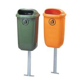 Verzinkter Ständer für Abfallbehälter, geeignet zum Einbetonieren