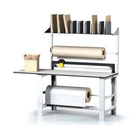 Table d'emballage avec 2 supports de rouleaux et cutter