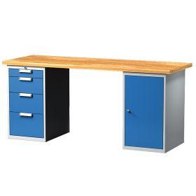 Table de travail avec 4 tiroirs et 1 porte