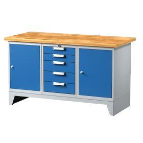 Arbeitstisch mit 5 Schubladen und 2 Türen