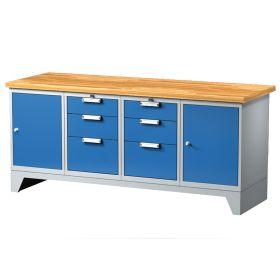 Arbeitstisch mit 6 Schubladen und 2 Türen