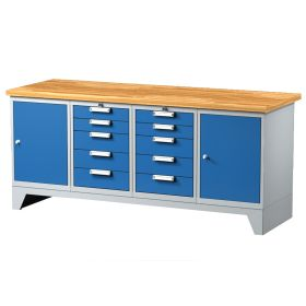 Arbeitstisch mit 10 Schubladen und 2 Türen