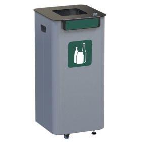 Abfallbehälter aus verzinktem Blech einzeln, Inhalt 70 Liter