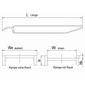 Rampes en aluminium 4500 mm, avec ou sans bord, disponibles en différentes largeurs