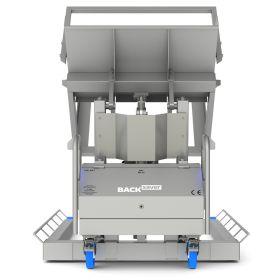 Standardkipper aus Inox für grosse, breite Behälter und hoher Kipphöhe | mit Kipp-Hebesystem