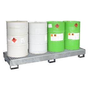 Auffangwannen aus Stahl für bis zu 4 Fässer nebeneinander oder Kleingebinde in verschiedenen Varianten
