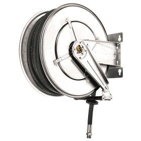 Enrouleur automatique en acier inoxydable pour AdBlue® / eau, 10 m de tuyau DN 19, avec ressort de rappel