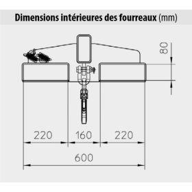 Bras de levage rigide - Angle d'inclinaison 25°