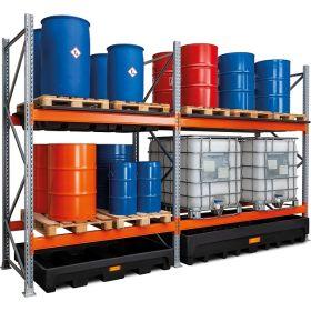 Gefahrstoff-Palettenregal mit PE-Boden-Auffangwanne