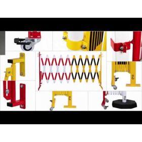 Barriere extensible avec roulettes et fixation mural